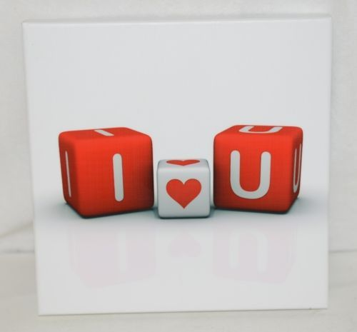Unbranded SA8646C White Background I Love You On Red Dice Wall Hanging Picture