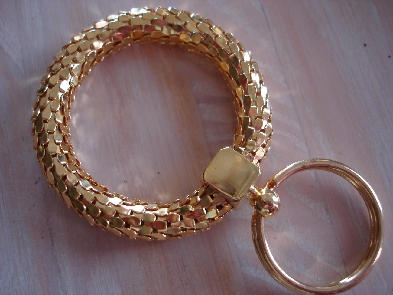 Goldtone Mesh Snakeskin Perforated Keychain Split Ring Bonanza