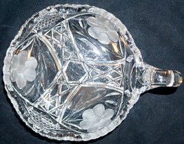 American Brilliant Period Cut Glass Single Handle Nappy with Etched Flowers - $25.99