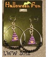 Glitter Striped Witch Hat Hoop Beaded Halloween French Hook Dangly Earrings - $6.99