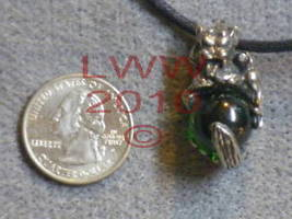 Green Orb Pewter Gargoyle Amulet Necklace Pendant Wicca - $5.90
