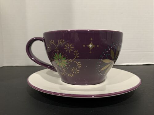 STARBUCKS 2006 EMBOSSED PURPLE W/GOLD STAR HOLIDAY CUP/SAUCER COFFEE TEA - $12.99
