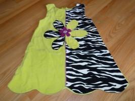 Size 4 Bonnie Jean Jumper Dress Lime Green Black White Zebra Stripe Flow... - $14.00