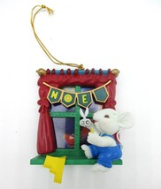 Vintage Mouse Crafting Window Christmas Decoration Ornament 1993 Lustre ... - $9.70