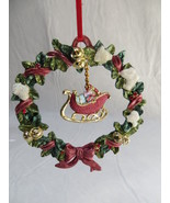 Christmas Metal Wreath With Sleigh Ornament NEW - $10.39