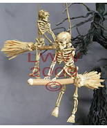 2 Halloween Skeleton Riding Brooms/ Besoms Ornament - $7.99