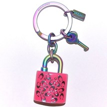 COACH Bag Iridescent PINK Keychain Hologram Anodized Lock & Key Purse Ch... - $47.52