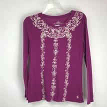 Tommy Hilfiger Women Shirt Waffle Texture Long Sleeve Print Purple Size L - $8.85