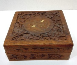 Hand Carved Wooden Jewelry Trinket Box Keepsake Storage Organizer Brass ... - $9.99