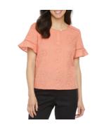 Liz Claiborne Crew Neck Short Sleeve Blouse Size PS, PM, PL, PXL Rose Da... - $14.99