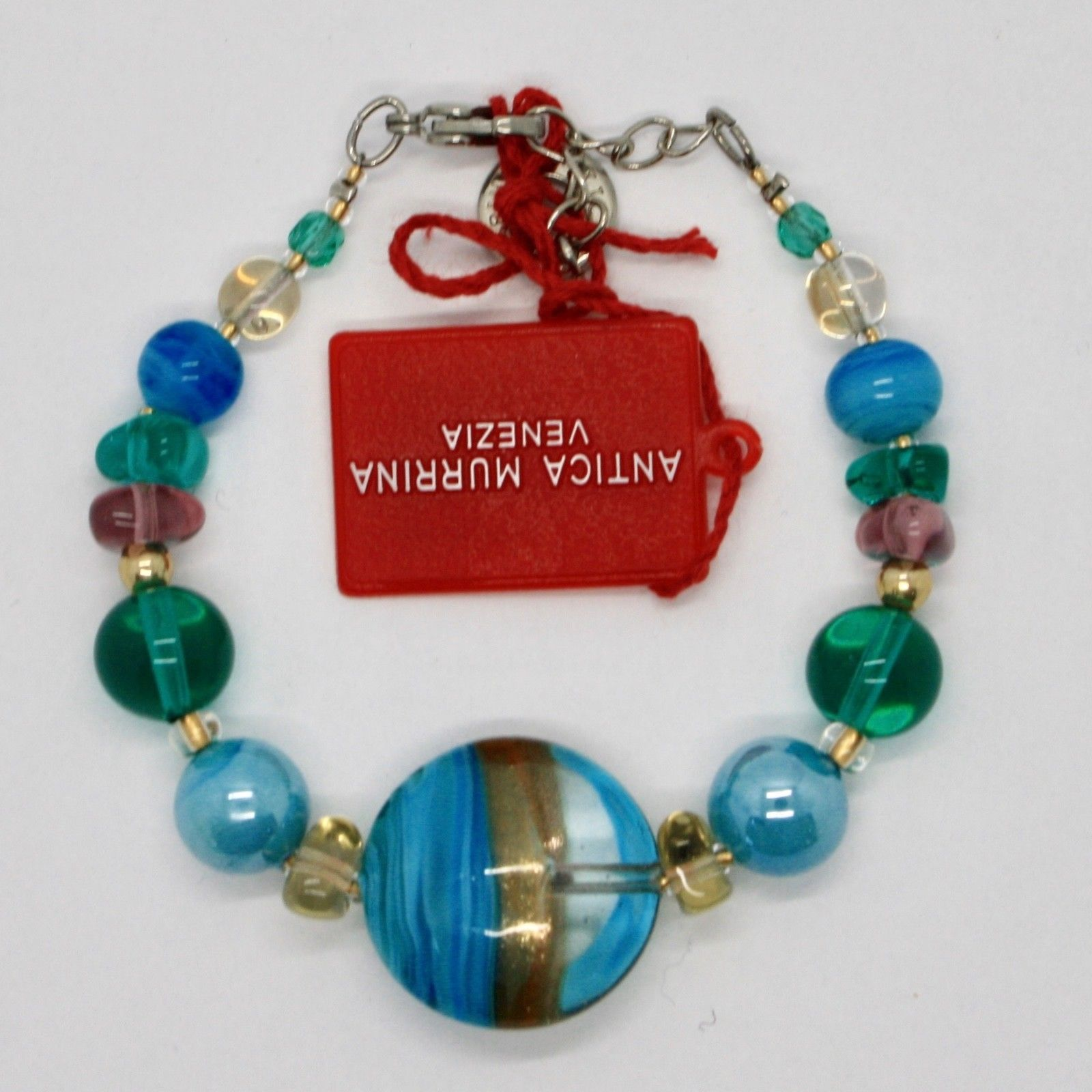 BRACELET ANTICA MURRINA VENEZIA WITH MURANO GLASS GOLD BLUE TURQUOISE BR761A07