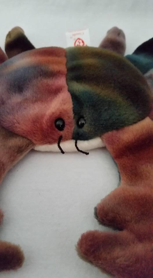 TY Beanie Babies Claude Crab Eye Sewn Wronge PVC PELLETS RARE ERRORS Retired image 2