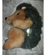 Vintage Baki Pluschtiere German Stuffed Hedgehog With Foil Paper Tag - $29.97