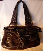 Vintage 1990s Aeropostale Dark Brown Leather Handbag Brass Studded - $35.00
