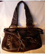 Vintage 1990s Aeropostale Dark Brown Leather Handbag Brass Studded - $35.00