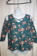 NEW WOMENS PLUS SIZE 4X TEAL FLORAL PRINT CRISSCROSS NECK COLD SHOULDER TOP - $17.41