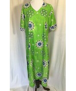 India Green Long Tie Dye Tunic Top With  Blue Embroidered Mandala Flowers L - $41.58