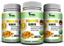 3pcs×365 Vitamin D3 10000 iu Soft Gel capsules High Strength Protects Po... - $47.99
