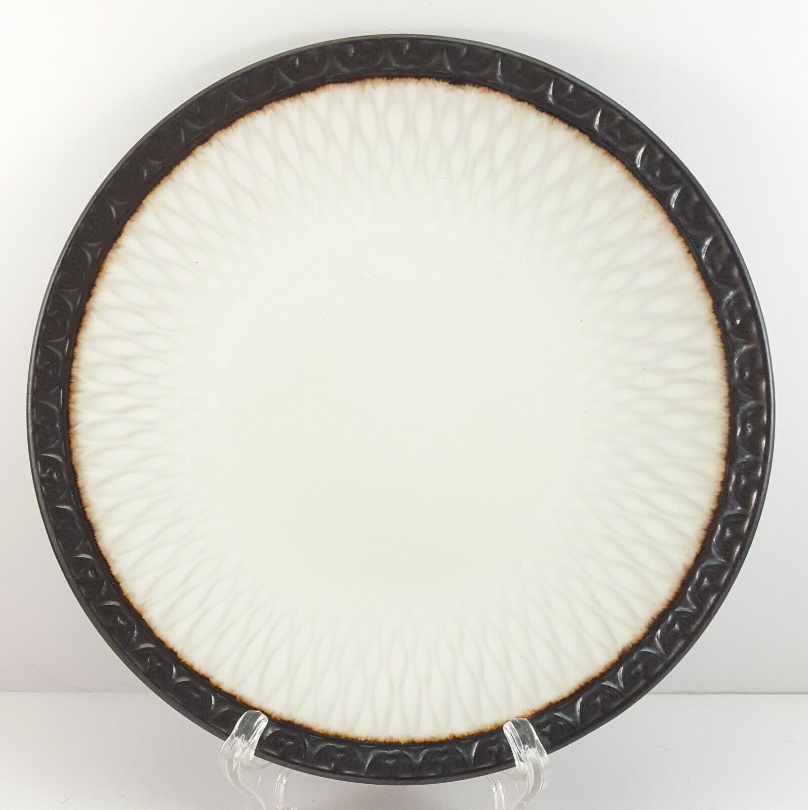 "Primary image for Mikasa Sorrento Salad Plate 8"" White and Charcoal Stoneware Embossed"