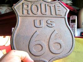 Cast Iron Route 66 sign plaque with chain southwest decor bz - $19.98