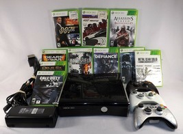 XBox 360S 4GB Gaming System w/ Lot of 10 Games and 3 Remotes Working Gloss Black - $145.00