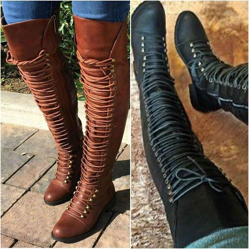 3cf1086b02c Women Lace Up Over Knee Boots Stacked Heel Autumn Rubber Boots ...