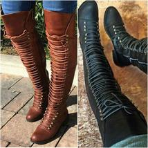 Women Lace Up Over Knee Boots Stacked Heel Autumn Rubber Boots Leather Shoes Plu