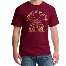 UFO I Want To Beleve Men's Cardinal Red T-shirt NEW Sizes S-2XL - $17.81+