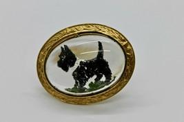 Vintage Mizpah Scotty Dog Jewelry Brooch Intaglio Cut Glass Pin Scottish... - $39.99