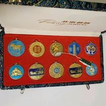 Peking Jewelry Enameled Gold Tone Pendant Set in Original Silk Case Vintage - $9.90