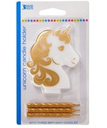 Golden Unicorn Birthday Candle Holder With Three Gold Candles - $20.99