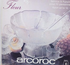 VINTAGE NOS ARCOROC FLEUR PUNCH BOWL SET FOR 12... - $86.89