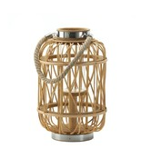 Lantern Candle Holders, Patio Outdoor Woven Rattan Rustic Wooden Candle ... - $45.99