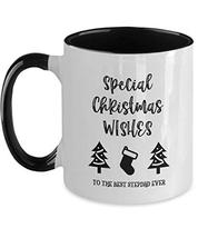 Special Christmas Wishes Mug for Stepdad from Stepson Xmas Tree Stocking... - $19.75