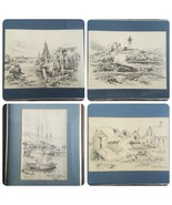 Vintage Drawings Prints Lot of 4 Pencil Jas F. Murray Maine Ocean Framed... - $178.18