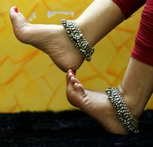 REAL SILVER ANTIQUE FABULOUS OLD ANKLETS FOOT BRACELET TRIBAL JEWELRY ANK03 - $507.86