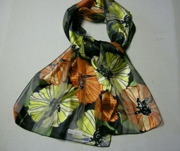 """Scarf, Large Floral Design On A Black Background, 60"""" x 12"""",Polyester, B... - $5.99"""