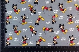 Mickey Mouse Grey Winceyette 100% Brushed Cotton Fabric Material 3 Sizes - $2.47+