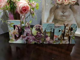 EASTER Floral Bunny Rabbit Wood Block Sign Tabletop Decor - $19.99