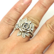 Silver Flower Rose Ring image 3