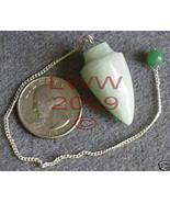 Green Aventurine Gemstone Pendulum- Scrying Pagan NEW - $6.85