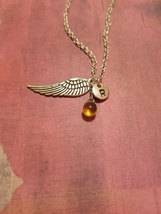 Birthstone November Topaz wing necklace birthst... - $26.00 - $28.00