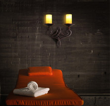 Industrial Candle Lampholder Wall Sconce Double Bulb Glass Shade Wall Li... - $158.50