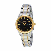 NEW* Seiko SUT166 Core Solar Black Dial Two-tone Ladies Watch MSRP $265 - $129.99
