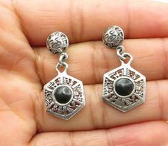 925 Sterling Silver - Vintage Black Onyx Sun Calendar Dangle Earrings - ... - $24.95
