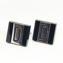 Vintage Mens Swank Shiny Silvertone & Black Mid Century Cufflink Set D M... - $24.74