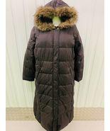 Womens TOMMY HILFIGER Full Length Down Fur Fleece Hood Puffer Coat Long ... - $175.00