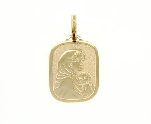 18K YELLOW GOLD PENDANT RECTANGULAR MEDAL MARY JESUS 20 MM ENGRAVABLE ITALY MADE