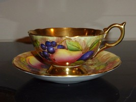 Aynsley Gold and Orchard Fruits Signed D. Jones Bone China Cup and Sauce... - $249.00