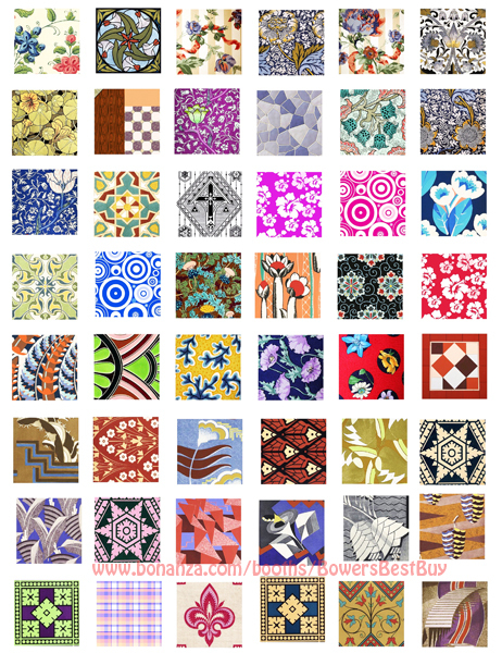 "1""squares digital download collage sheet vintage fabric textiles kimono clipart"